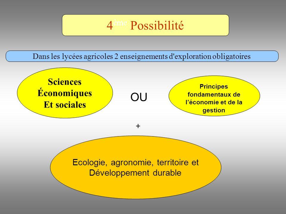 Ecologie, agronomie, territoire et Développement durable Principes fondamentaux de léconomie et de la gestion + OU 4 ème Possibilité Dans les lycées a