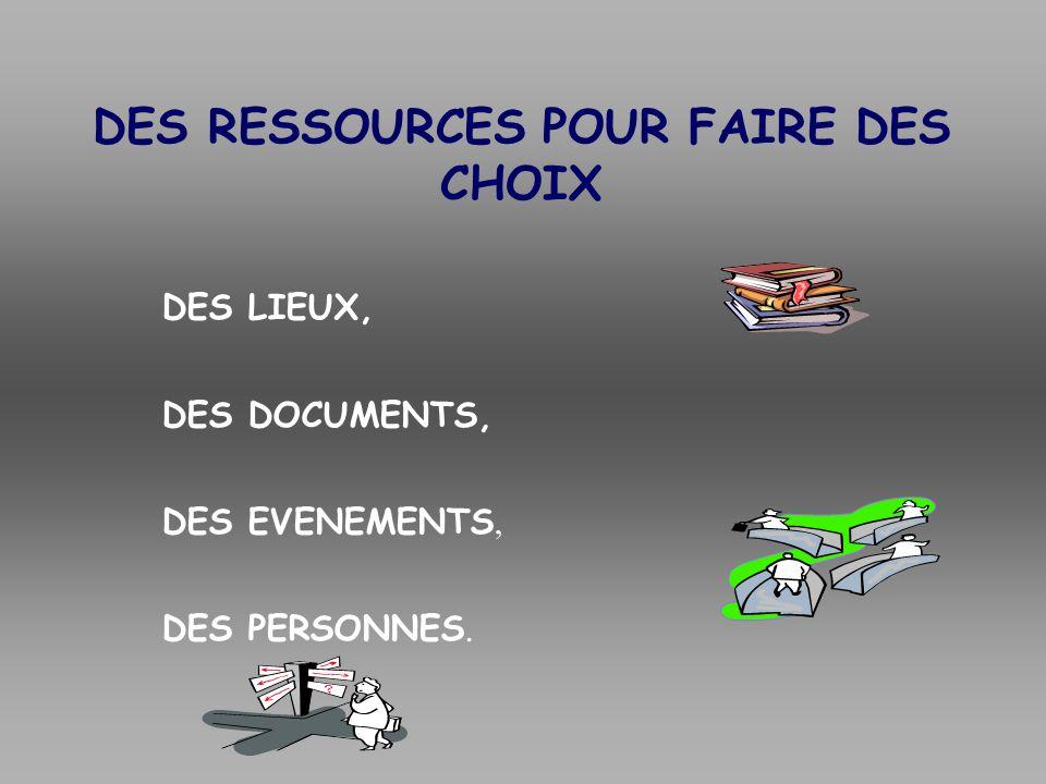DES RESSOURCES POUR FAIRE DES CHOIX DES LIEUX, DES DOCUMENTS, DES EVENEMENTS, DES PERSONNES.
