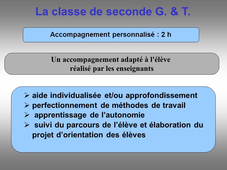 La classe de seconde G. & T. Accompagnement personnalisé : 2 h aide individualisée et/ou approfondissement perfectionnement de méthodes de travail app