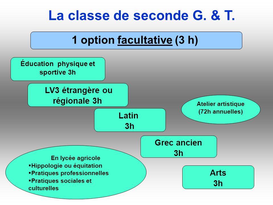 La classe de seconde G. & T. 1 option facultative (3 h) Éducation physique et sportive 3h LV3 étrangère ou régionale 3h Latin 3h Grec ancien 3h Arts 3