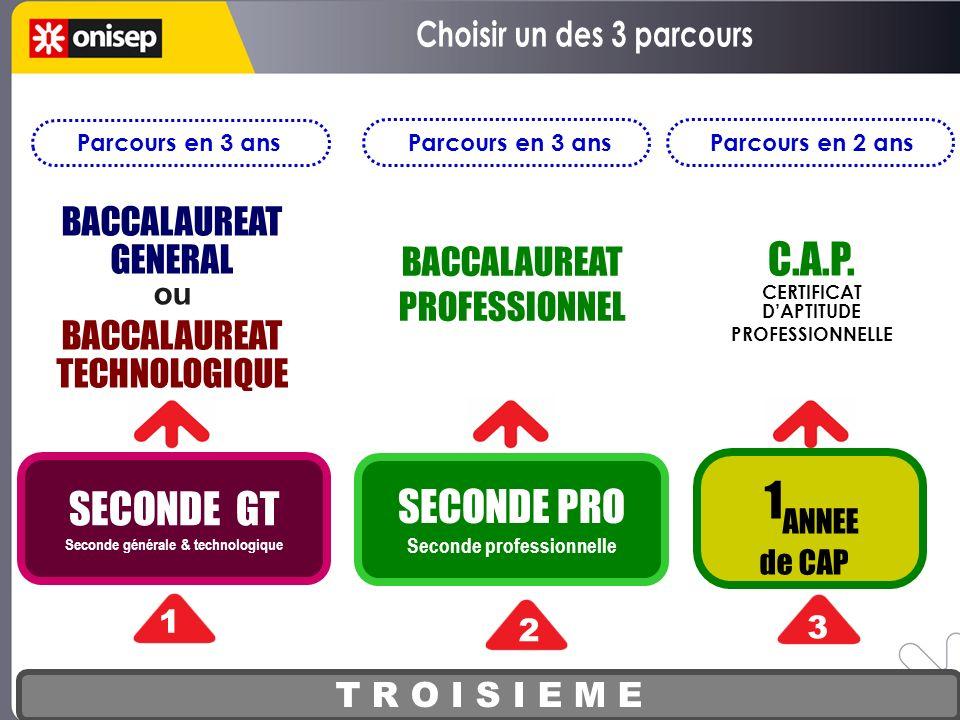 T R O I S I E M E SECONDE GT Seconde générale & technologique 1 2 3 BACCALAUREAT GENERAL ou BACCALAUREAT TECHNOLOGIQUE BACCALAUREAT PROFESSIONNEL C.A.