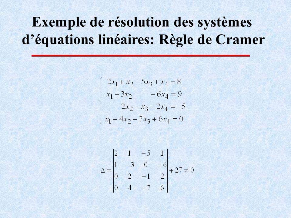 Exemple de résolution des systèmes déquations linéaires: Règle de Cramer