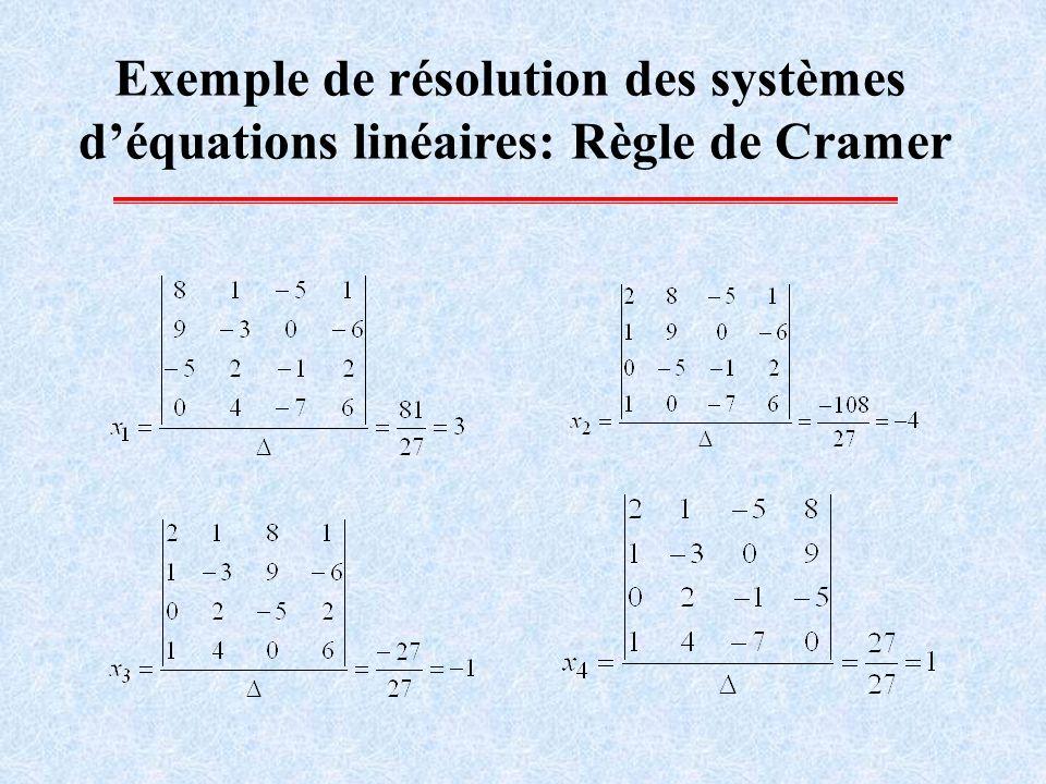 Résolution des systèmes déquations linéaires: Inversion dune matrice