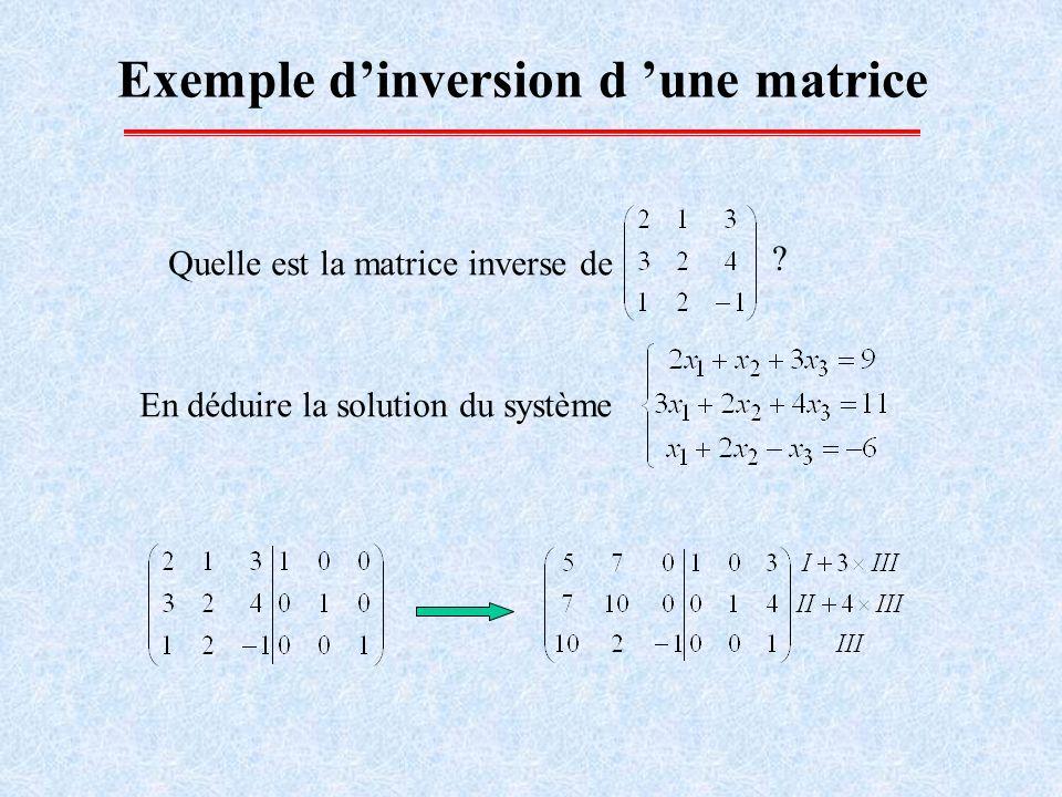 Exemple dinversion d une matrice