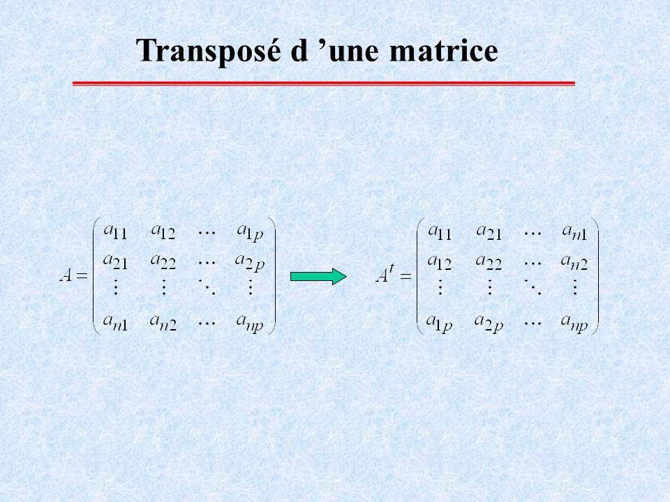Calcul matriciel Egalité de 2 matrices: a ij =b ij, i, j Somme de 2 matrices: c ij =a ij +b ij, i, j Multiplication d une matrice par un scalaire : c ij = a ij i, j Remarque: A et B sont de même dimension