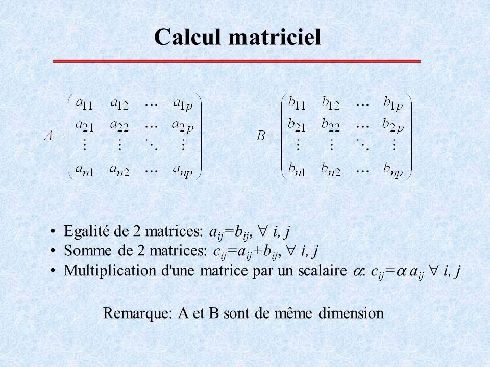 Calcul matriciel: Produit de 2 matrices le nombre de lignes de la matrice B est égal au nombre de colonnes de la matrice A.
