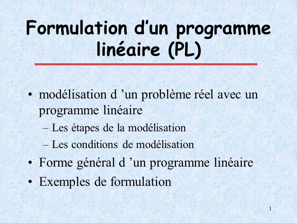 1 Formulation dun programme linéaire (PL) modélisation d un problème réel avec un programme linéaire –Les étapes de la modélisation –Les conditions de