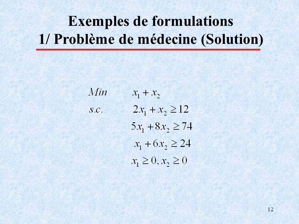 12 Exemples de formulations 1/ Problème de médecine (Solution)