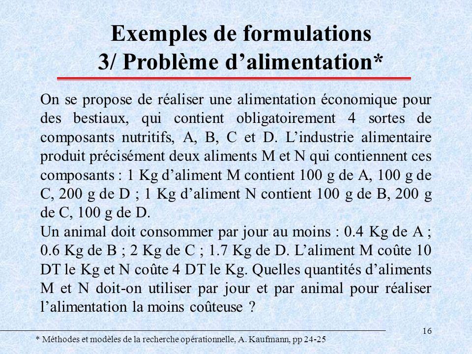16 Exemples de formulations 3/ Problème dalimentation* On se propose de réaliser une alimentation économique pour des bestiaux, qui contient obligatoi