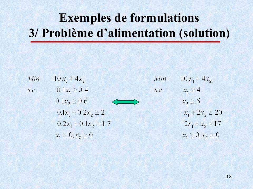 18 Exemples de formulations 3/ Problème dalimentation (solution)