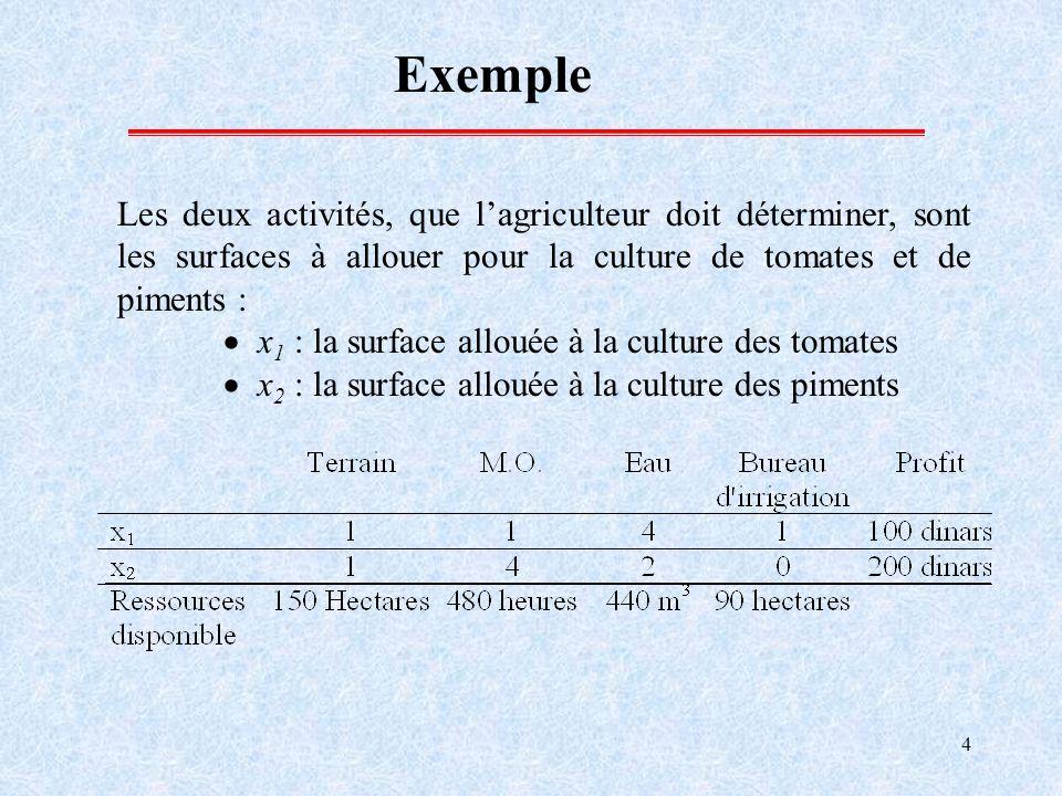 4 Exemple Les deux activités, que lagriculteur doit déterminer, sont les surfaces à allouer pour la culture de tomates et de piments : x 1 : la surfac