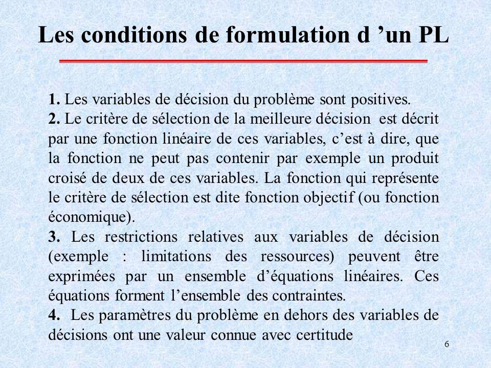 6 Les conditions de formulation d un PL 1. Les variables de décision du problème sont positives. 2. Le critère de sélection de la meilleure décision e