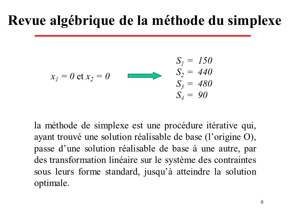 6 Revue algébrique de la méthode du simplexe x 1 = 0 et x 2 = 0 S 1 = 150 S 2 = 440 S 3 = 480 S 4 = 90 la méthode de simplexe est une procédure itérat