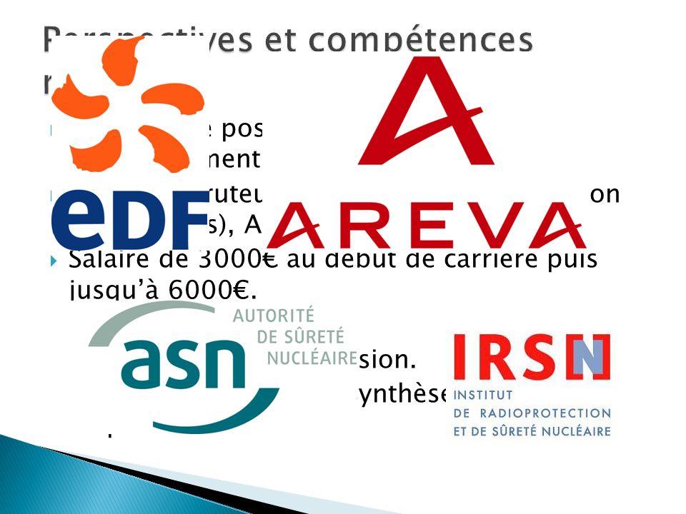 Création de postes (construction EPR, renouvellement des centrales) Grands recruteurs : EDF, Areva (construction de centrales), ASN et IRSN. Salaire d