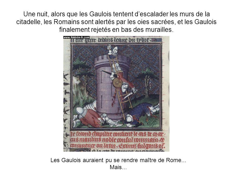 Une nuit, alors que les Gaulois tentent descalader les murs de la citadelle, les Romains sont alertés par les oies sacrées, et les Gaulois finalement