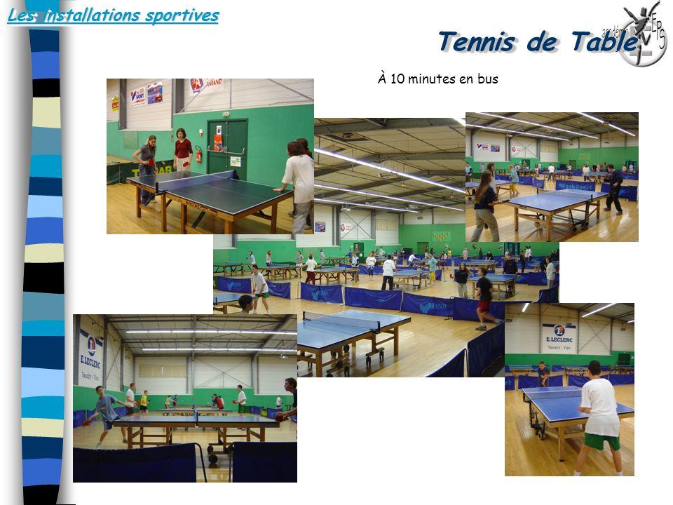 Les installations sportives Tennis de Table.. À 10 minutes en bus