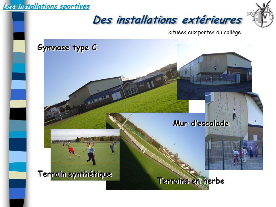 Les installations sportives Des installations extérieures.. Gymnase type C Terrains en herbe situées aux portes du collège Terrain synthétique Mur des