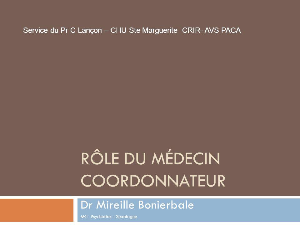 RÔLE DU MÉDECIN COORDONNATEUR Dr Mireille Bonierbale MC- Psychiatre – Sexologue Service du Pr C Lançon – CHU Ste Marguerite CRIR- AVS PACA