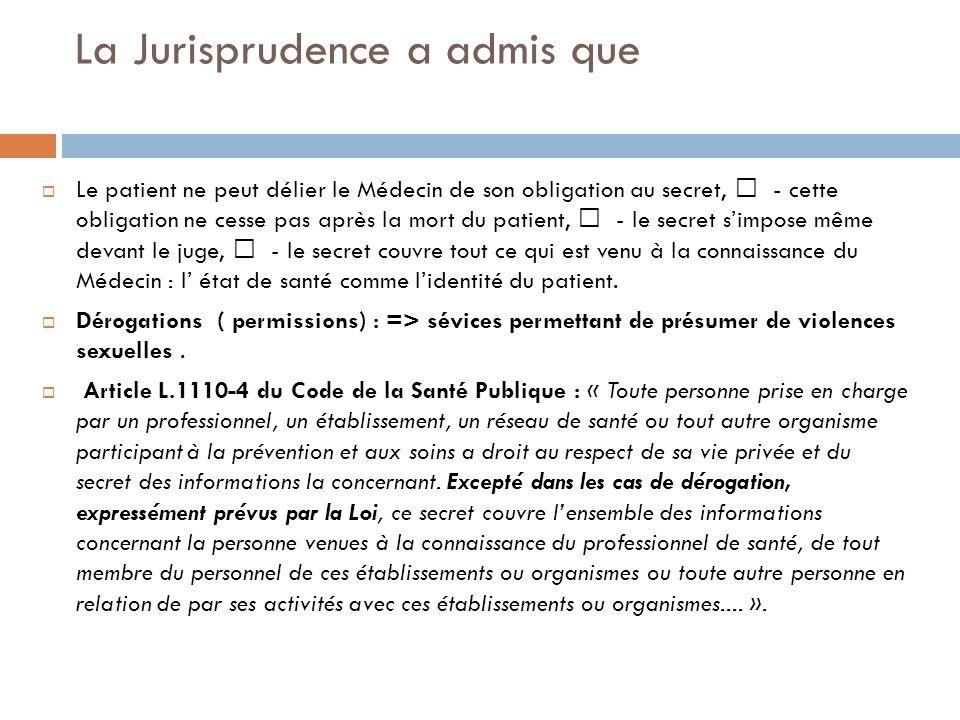 La Jurisprudence a admis que Le patient ne peut délier le Médecin de son obligation au secret, - cette obligation ne cesse pas après la mort du patien