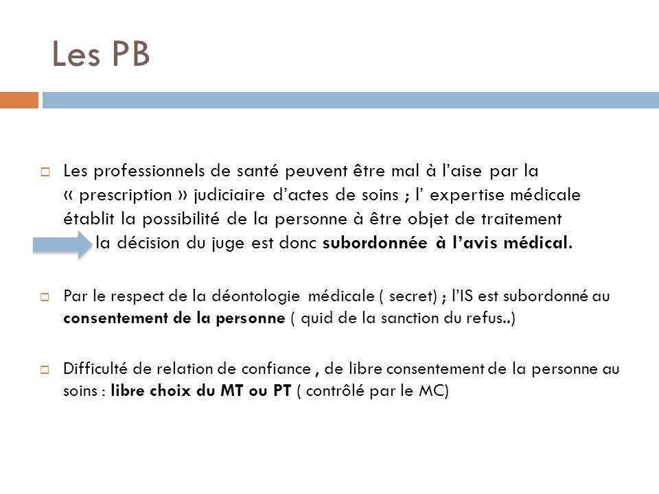 Les PB Les professionnels de santé peuvent être mal à laise par la « prescription » judiciaire dactes de soins ; l expertise médicale établit la possi