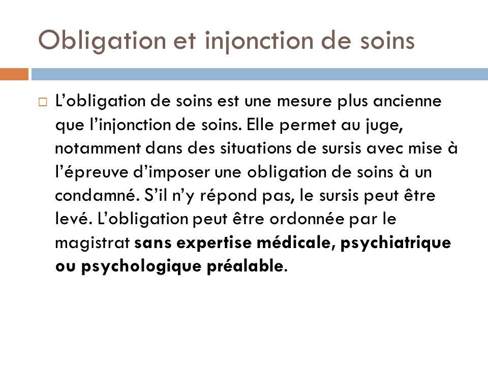 Obligation et injonction de soins Linjonction de soins :créée par la loi de 1998 représente une des mesures du suivi socio-judiciaire et ne simpose quà la libération en cas dincarcération.
