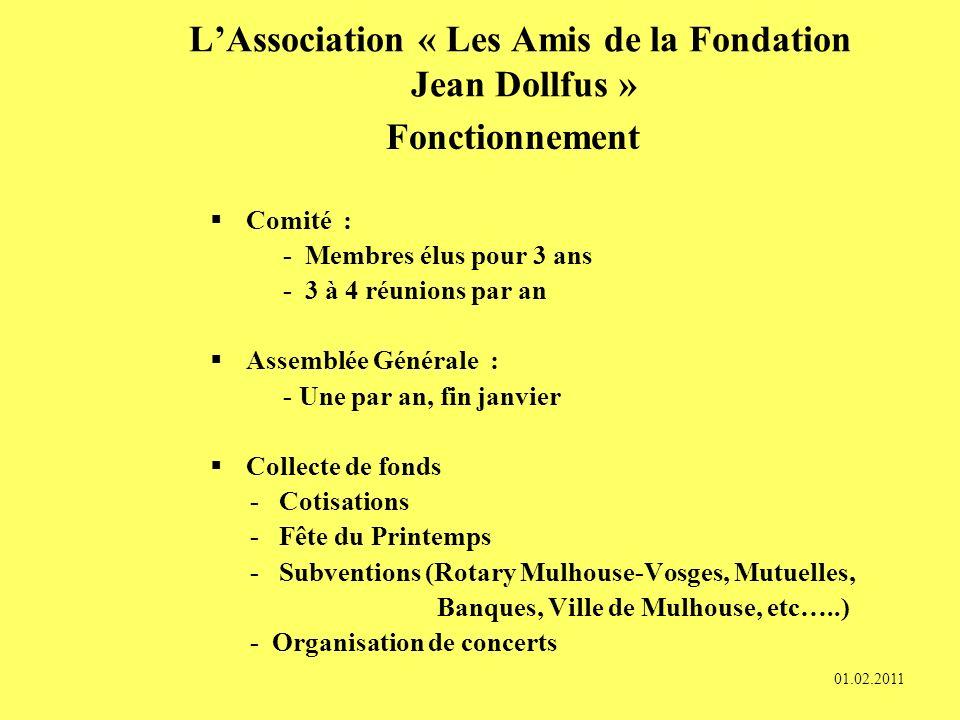 LAssociation « Les Amis de la Fondation Jean DOLLFUS » Création : 1984 Objectifs : Améliorer le bien-être et lagrément de la vie de tous les jours des