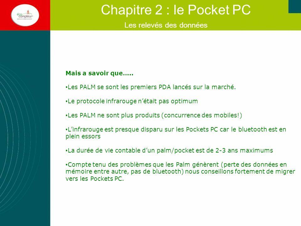 Les relevés des données Chapitre 2 : le Pocket PC Mais a savoir que….. Les PALM se sont les premiers PDA lancés sur la marché. Le protocole infrarouge