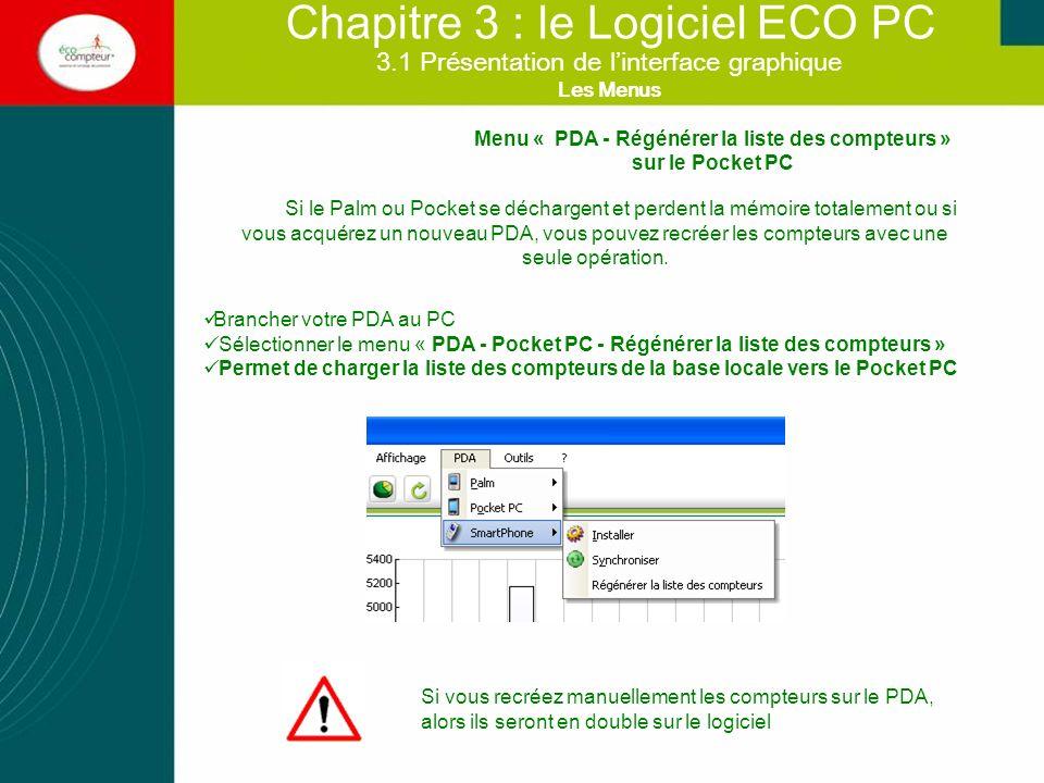 Chapitre 3 : le Logiciel ECO PC Si le Palm ou Pocket se déchargent et perdent la mémoire totalement ou si vous acquérez un nouveau PDA, vous pouvez re