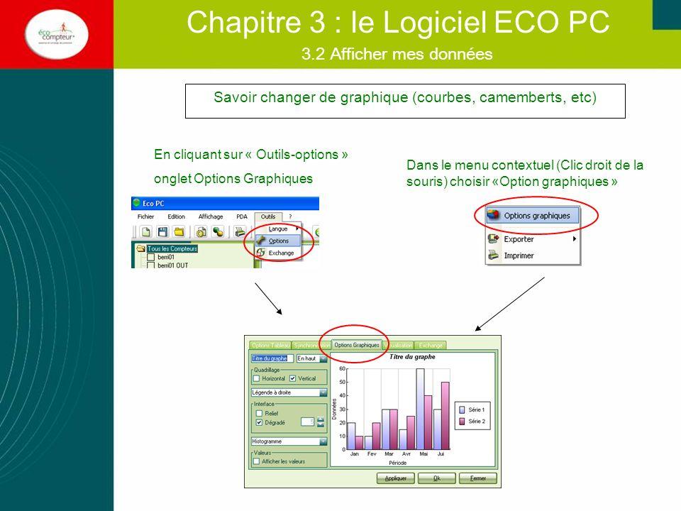 3.2 Afficher mes données Chapitre 3 : le Logiciel ECO PC Savoir changer de graphique (courbes, camemberts, etc) En cliquant sur « Outils-options » ong