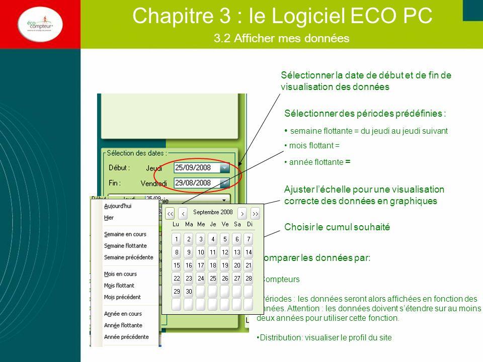 Chapitre 3 : le Logiciel ECO PC Comparer les données par: Compteurs Périodes : les données seront alors affichées en fonction des années. Attention :