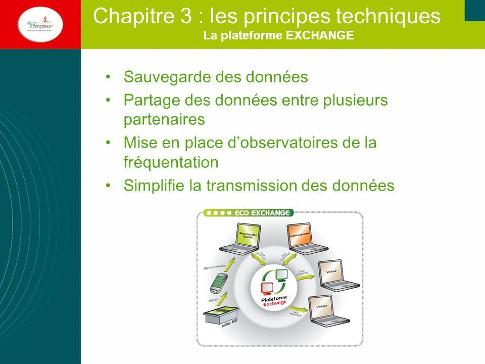 La plateforme EXCHANGE Sauvegarde des données Partage des données entre plusieurs partenaires Mise en place dobservatoires de la fréquentation Simplif