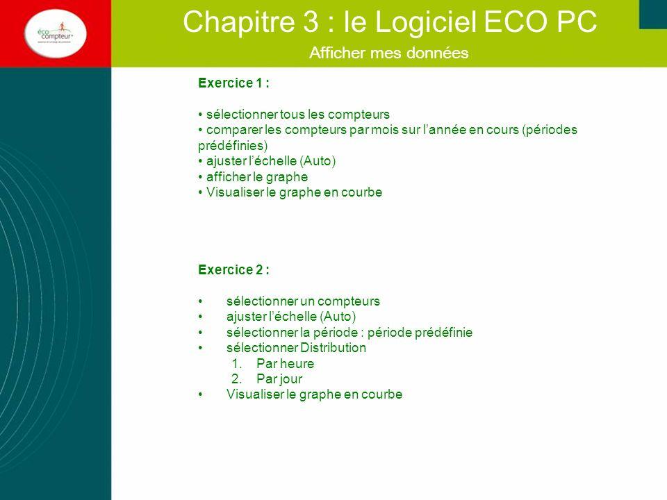 Afficher mes données Chapitre 3 : le Logiciel ECO PC Exercice 1 : sélectionner tous les compteurs comparer les compteurs par mois sur lannée en cours
