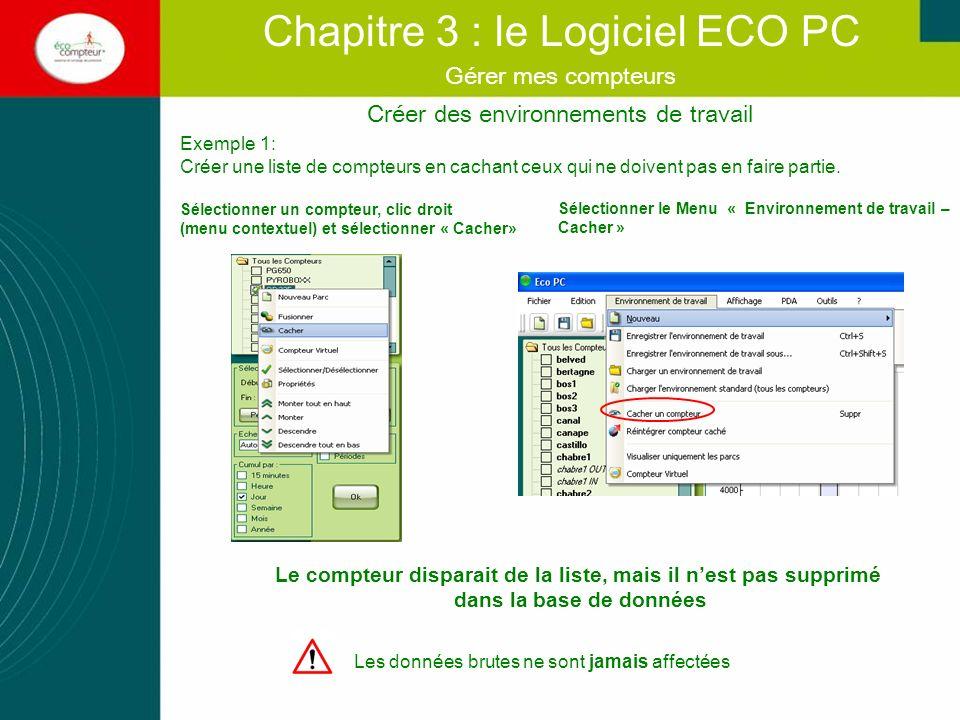 Créer des environnements de travail Chapitre 3 : le Logiciel ECO PC Gérer mes compteurs Les données brutes ne sont jamais affectées Exemple 1: Créer u