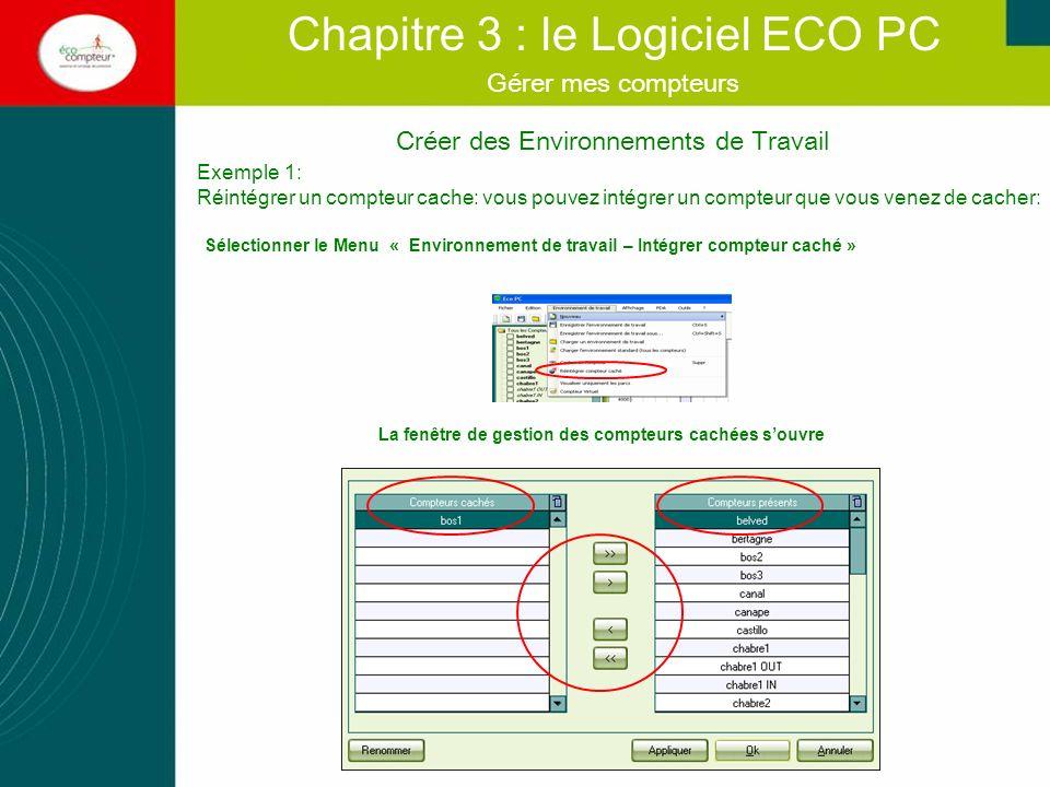 Créer des Environnements de Travail Chapitre 3 : le Logiciel ECO PC Gérer mes compteurs Exemple 1: Réintégrer un compteur cache: vous pouvez intégrer