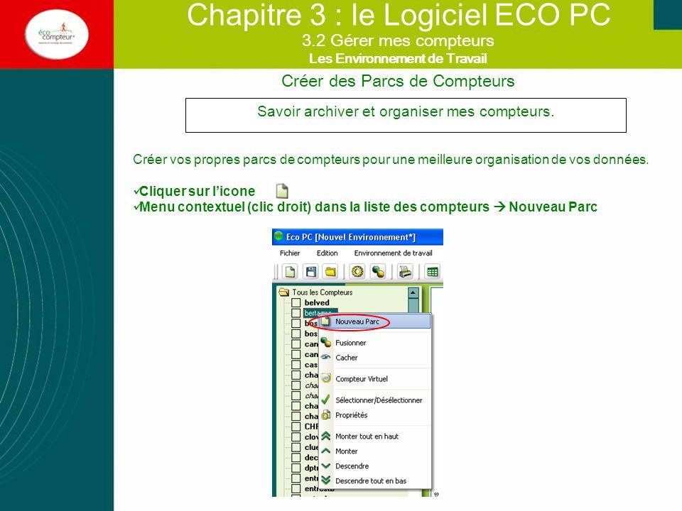 Chapitre 3 : le Logiciel ECO PC Savoir archiver et organiser mes compteurs. Créer vos propres parcs de compteurs pour une meilleure organisation de vo