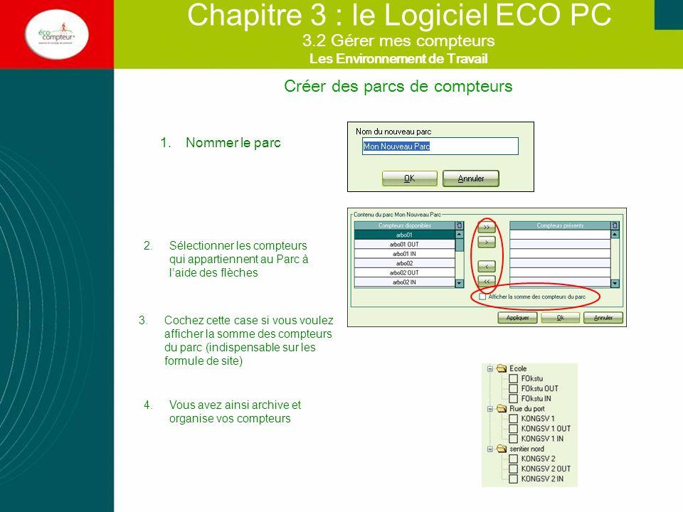Créer des parcs de compteurs Chapitre 3 : le Logiciel ECO PC 1.Nommer le parc 2.Sélectionner les compteurs qui appartiennent au Parc à laide des flèch