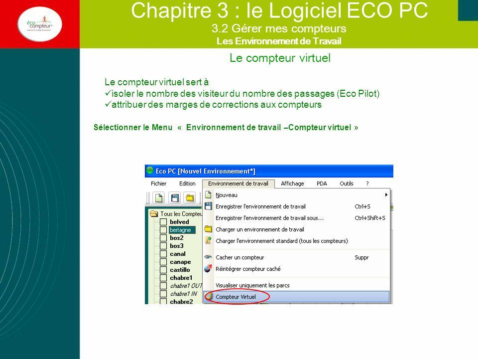 Le compteur virtuel Chapitre 3 : le Logiciel ECO PC Le compteur virtuel sert à isoler le nombre des visiteur du nombre des passages (Eco Pilot) attrib