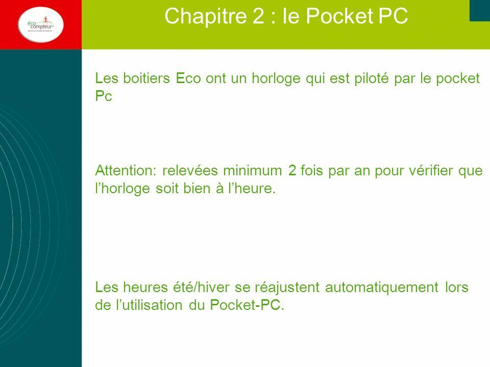 Les boitiers Eco ont un horloge qui est piloté par le pocket Pc Attention: relevées minimum 2 fois par an pour vérifier que lhorloge soit bien à lheur