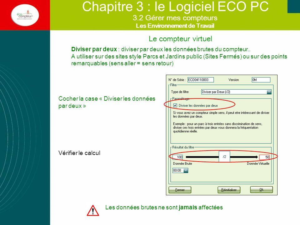 Le compteur virtuel Chapitre 3 : le Logiciel ECO PC Diviser par deux : diviser par deux les données brutes du compteur.. A utiliser sur des sites styl