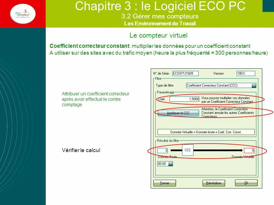 Chapitre 3 : le Logiciel ECO PC Coefficient correcteur constant: multiplier les données pour un coefficient constant A utiliser sur des sites avec du
