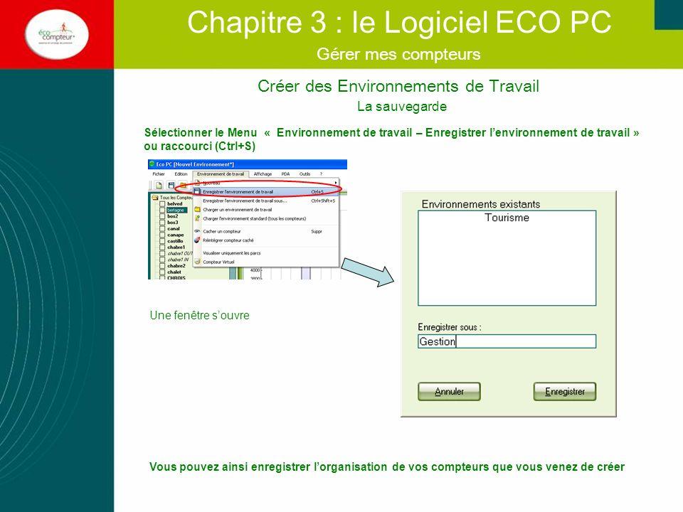Vous pouvez ainsi enregistrer lorganisation de vos compteurs que vous venez de créer Créer des Environnements de Travail Chapitre 3 : le Logiciel ECO