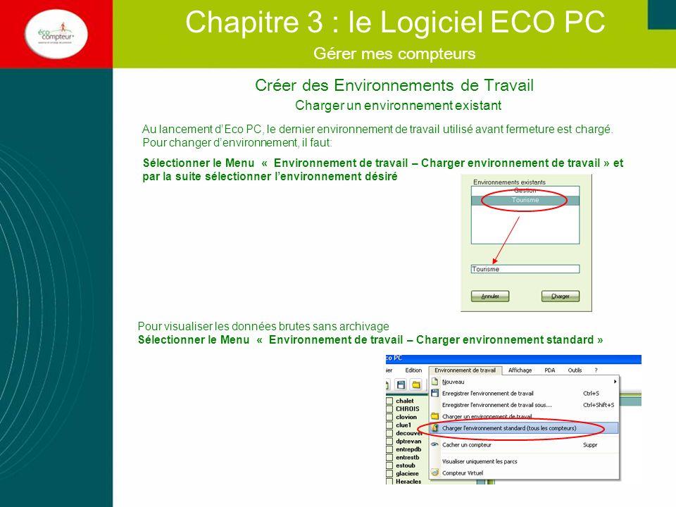 Créer des Environnements de Travail Chapitre 3 : le Logiciel ECO PC Gérer mes compteurs Charger un environnement existant Au lancement dEco PC, le der