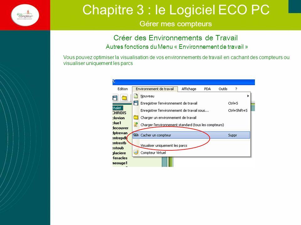 Créer des Environnements de Travail Chapitre 3 : le Logiciel ECO PC Gérer mes compteurs Autres fonctions du Menu « Environnement de travail » Vous pou
