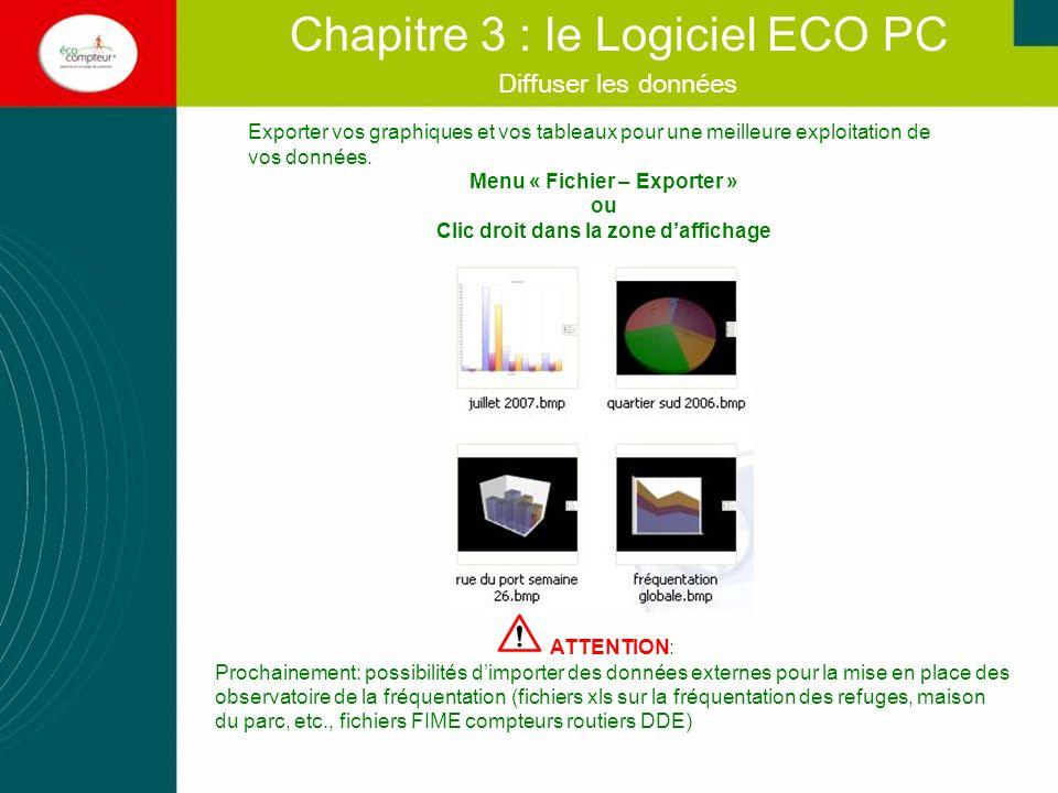 Diffuser les données Chapitre 3 : le Logiciel ECO PC Exporter vos graphiques et vos tableaux pour une meilleure exploitation de vos données. Menu « Fi