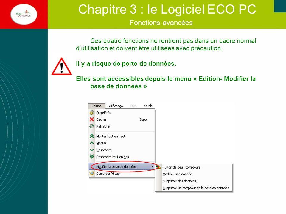 Fonctions avancées Chapitre 3 : le Logiciel ECO PC Ces quatre fonctions ne rentrent pas dans un cadre normal dutilisation et doivent être utilisées av