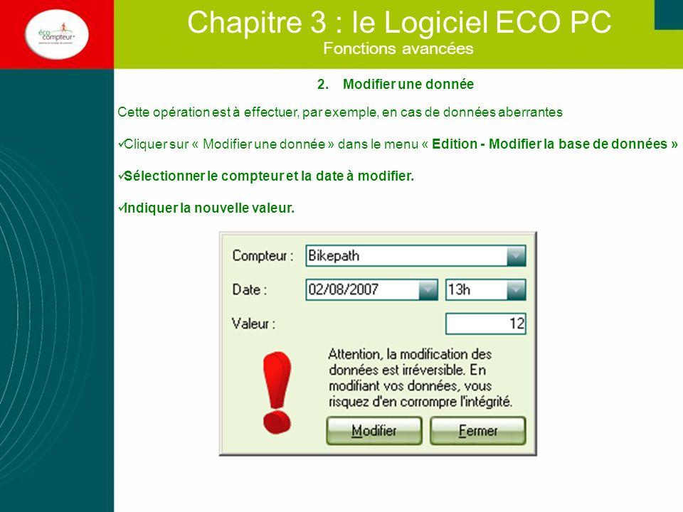 Fonctions avancées Chapitre 3 : le Logiciel ECO PC 2.Modifier une donnée Cette opération est à effectuer, par exemple, en cas de données aberrantes Cl