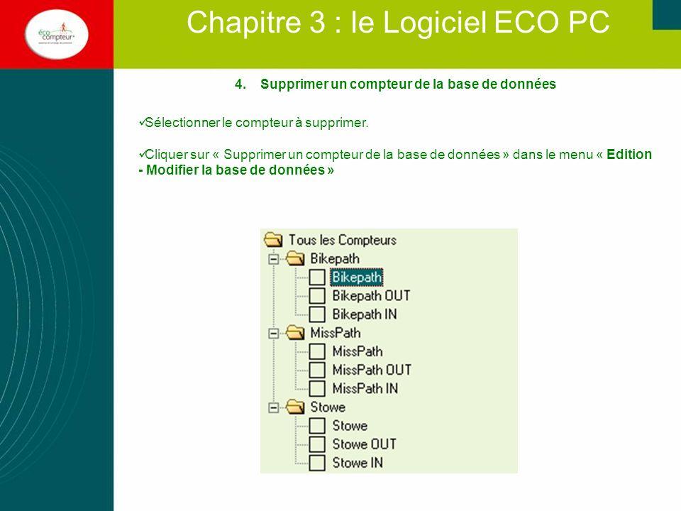 Chapitre 3 : le Logiciel ECO PC 4.Supprimer un compteur de la base de données Sélectionner le compteur à supprimer. Cliquer sur « Supprimer un compteu