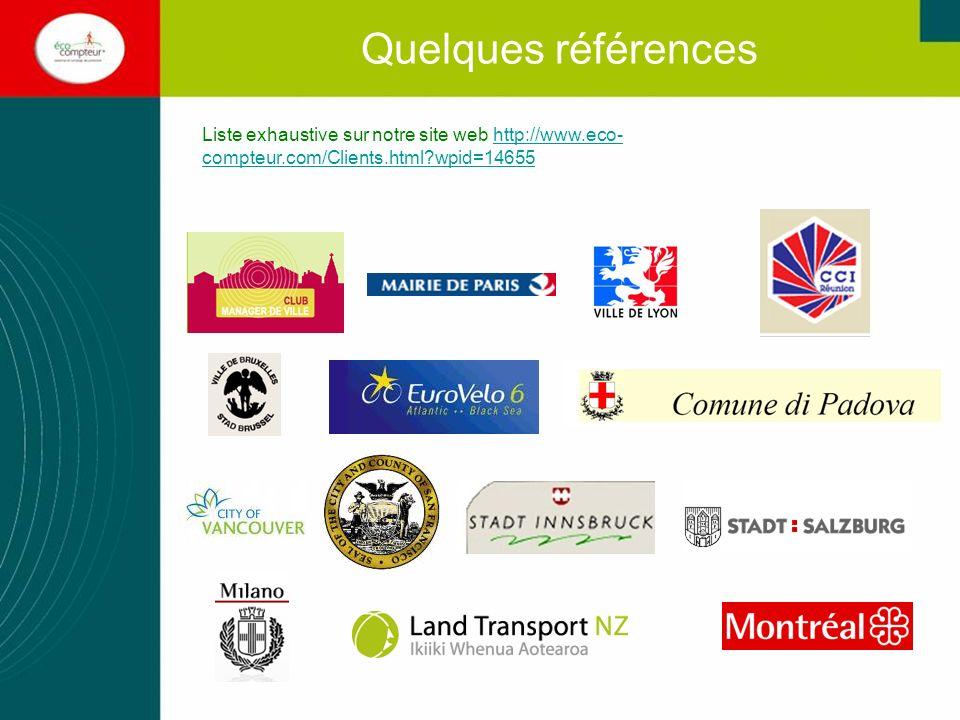 Quelques références Liste exhaustive sur notre site web http://www.eco- compteur.com/Clients.html?wpid=14655http://www.eco- compteur.com/Clients.html?