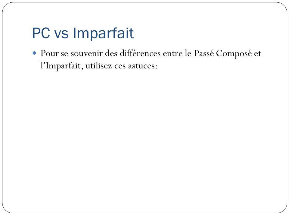 PC vs Imparfait Pour se souvenir des différences entre le Passé Composé et lImparfait, utilisez ces astuces: