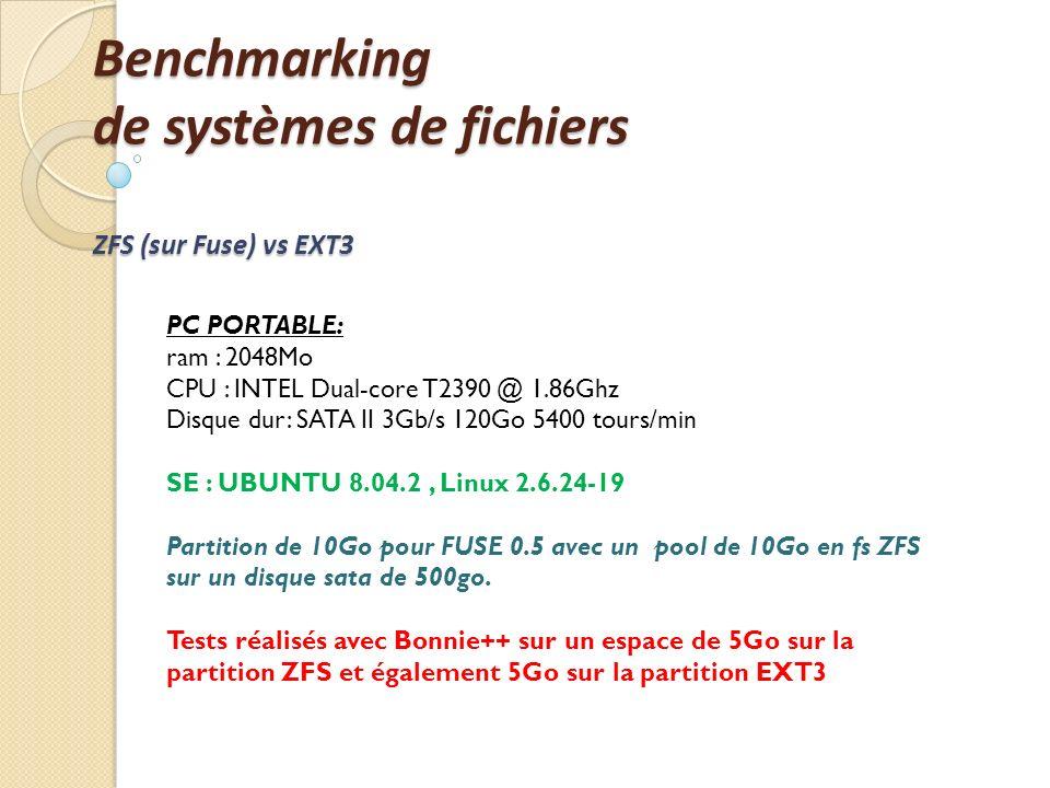 Benchmarking de systèmes de fichiers ZFS (sur Fuse) vs EXT3 PC PORTABLE: ram : 2048Mo CPU : INTEL Dual-core T2390 @ 1.86Ghz Disque dur: SATA II 3Gb/s